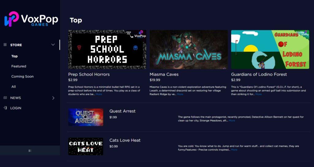 VoxPop games storefront